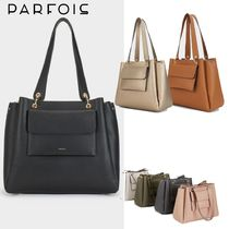 PARFOIS Casual Style 2WAY Plain Office Style Elegant Style Totes