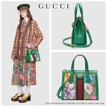 GUCCI Ophidia Stripes Flower Patterns Monogram Casual Style Canvas