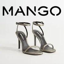 MANGO Square Toe Casual Style Pin Heels Party Style Elegant Style