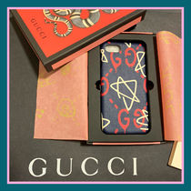 GUCCI Gucci Ghost Star Unisex Blended Fabrics Leather Smart Phone Cases