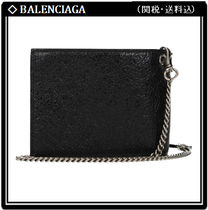 BALENCIAGA Chain Leather Folding Wallet Folding Wallets