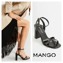 MANGO Square Toe Other Animal Patterns Block Heels Heeled Sandals