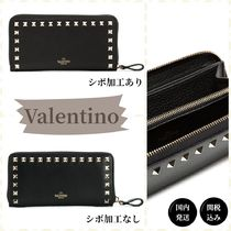 VALENTINO Calfskin Studded Long Wallet  Logo Long Wallets