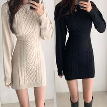Short Casual Style Tight U-Neck Long Sleeves Office Style