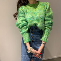 Crew Neck Cable Knit Casual Style Halter Neck Long Sleeves