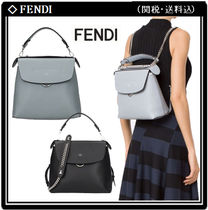 FENDI BACK TO SCHOOL 3WAY Chain Leather Elegant Style Backpacks