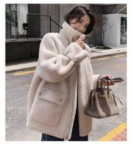 Stand Collar Coats Casual Style Unisex Faux Fur