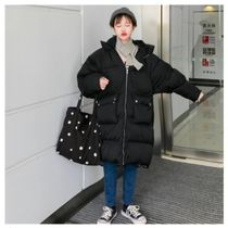 Stand Collar Coats Unisex Faux Fur Blended Fabrics