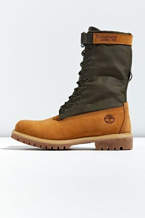 Timberland Plain Toe Mountain Boots Street Style Leather Logo