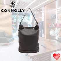 CONNOLLY Street Style 2WAY 3WAY Plain Leather Straw Bags