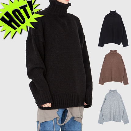 Raucohouse Sweaters Pullovers Unisex Street Style Long Sleeves Plain Sweaters