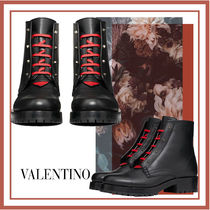 VALENTINO Plain Toe Casual Style Blended Fabrics Bi-color Leather