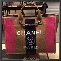 CHANEL DEAUVILLE Stripes Unisex A4 3WAY Chain Leather Logo Totes