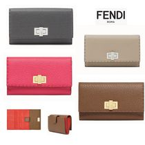FENDI Calfskin Plain Leather Folding Wallets