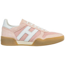 HOGAN Round Toe Rubber Sole Casual Style Suede Street Style