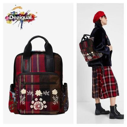 Gingham Flower Patterns Casual Style Backpacks