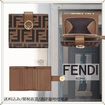 FENDI F IS FENDI Monogram Unisex Calfskin Plain Folding Wallets