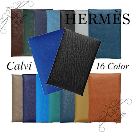 HERMES Calvi Calfskin Plain Card Holders