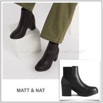 MATT&NAT Rubber Sole Casual Style Faux Fur Plain Block Heels