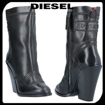 DIESEL Casual Style Street Style Plain Leather Chunky Heels