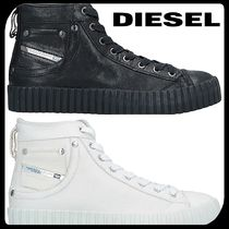 DIESEL Round Toe Rubber Sole Casual Style Plain Leather