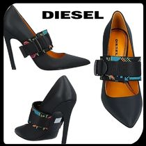 DIESEL Casual Style Plain Leather Pin Heels Office Style
