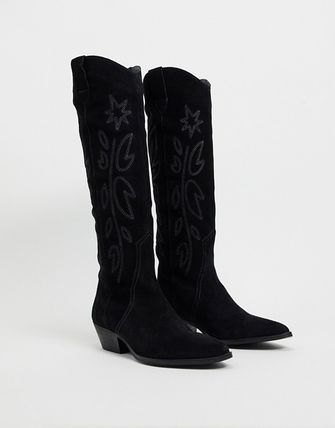 Cowboy Boots Casual Style Plain Leather Block Heels Tribal