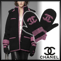 CHANEL Tweed Street Style Bi-color Plain Shearling Logo