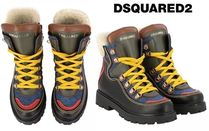 D SQUARED2 Rubber Sole Lace-up Casual Style Leather Lace-up Boots