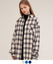 ACOVER Tartan Casual Style Unisex Street Style Long Sleeves Cotton
