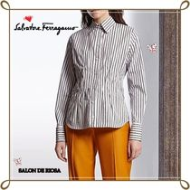Salvatore Ferragamo Stripes Long Sleeves Cotton Office Style Shirts & Blouses