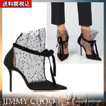 Jimmy Choo Dots Velvet Blended Fabrics Plain Block Heels Party Style