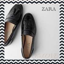 ZARA Round Toe Casual Style Studded Leather