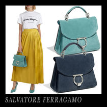 Salvatore Ferragamo Suede 2WAY Plain Office Style Elegant Style Handbags