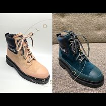 CHANEL ICON Plain Toe Mountain Boots Casual Style Suede Blended Fabrics