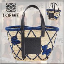 LOEWE Calfskin A4 Other Animal Patterns Straw Bags