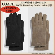 Coach Street Style Plain Leather Leather & Faux Leather Gloves
