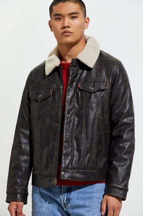 Short Faux Fur Street Style Plain Biker Jackets