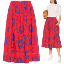 MARNI Flared Skirts Flower Patterns Casual Style Bi-color Cotton