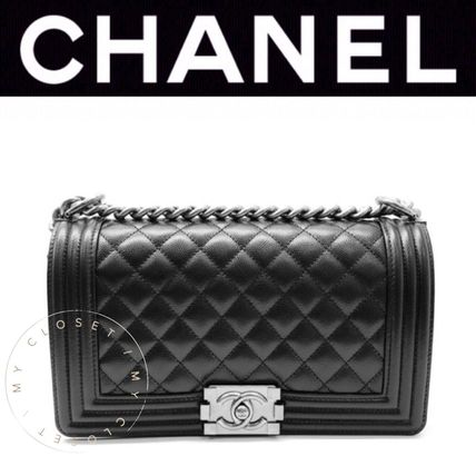 CHANEL BOY CHANEL Casual Style Calfskin Blended Fabrics Street Style 2WAY
