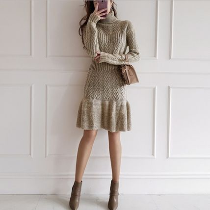 Short Casual Style Flared Long Sleeves Plain Office Style
