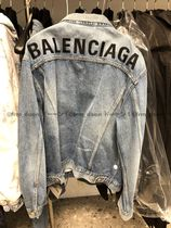 BALENCIAGA Short Denim Plain Denim Jackets Logo Jackets