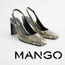MANGO Square Toe Python Heeled Sandals