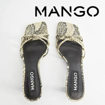 MANGO Square Toe Pin Heels Python Heeled Sandals