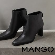 MANGO Square Toe Leather Block Heels Ankle & Booties Boots