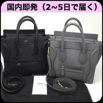 CELINE Luggage Calfskin Plain Leather Handbags