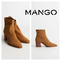 MANGO Leather Block Heels Ankle & Booties Boots
