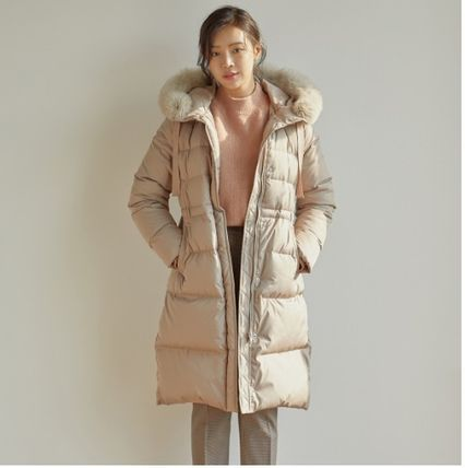 Fur Blended Fabrics Street Style Plain Long Parkas