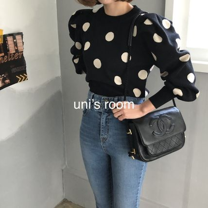 Short Dots Long Sleeves Medium Puff Sleeves Cropped