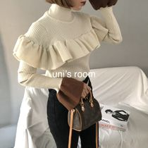 Short Casual Style Rib Bi-color Long Sleeves Plain Medium